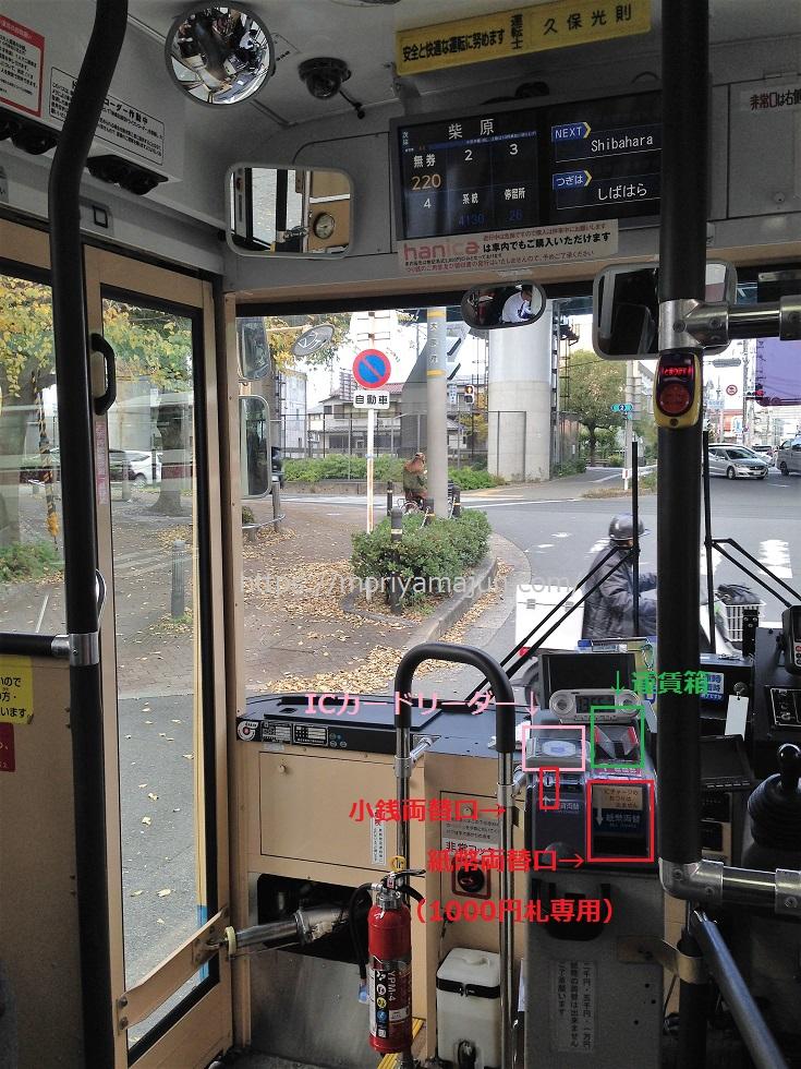 阪急バス運転席側カードリーダー運賃箱