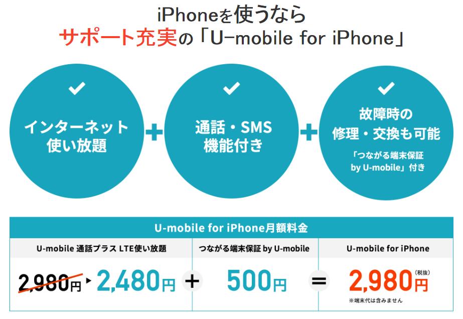 u-mobileforiphone料金詳細
