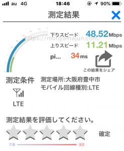 mineoAプラン速度テスト(夕方時間帯)